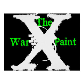 """La pintura de guerra"" poster verde/del negro/blan"