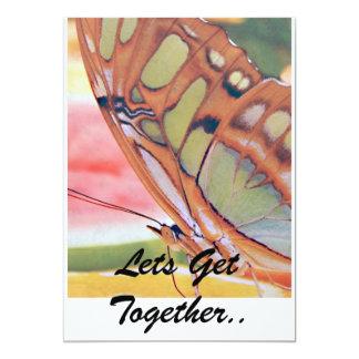 """La pintura de oro de la mariposa, deja la reunión. invitación 5"""" x 7"""""""