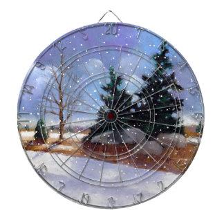 La pintura de paisaje del invierno Nevado engrasa Tablero De Dardos