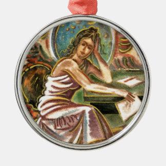 La pintura de pensamiento de la acuarela del adorno navideño redondo de metal