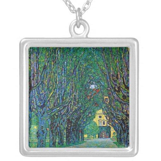 La pintura del árbol alineó el arte Klimt del pais Pendientes Personalizados