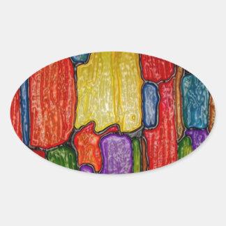 La pintura del arte abstracto encajona negro de pegatina ovalada