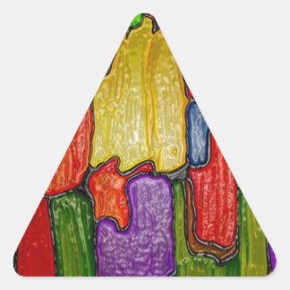 La pintura del arte abstracto encajona negro de pegatina triangular