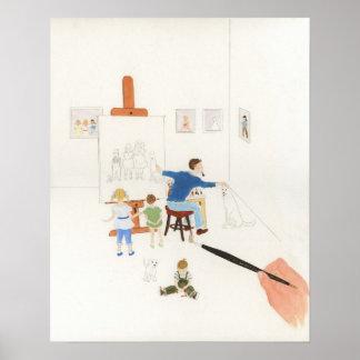 La pintura del color de agua del pintor de retrato impresiones
