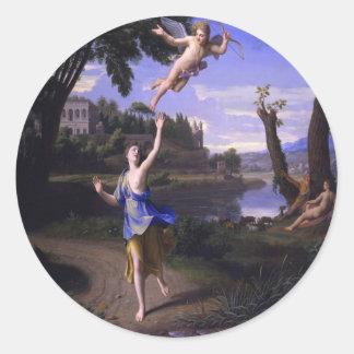 La pintura del Cupid y de la psique de Colombel am Etiquetas Redondas