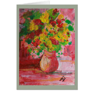 La pintura del florero de amarillo florece la tarjeta de felicitación