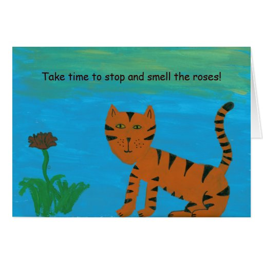 La pintura del gato del arte popular tarda tiempo tarjeta pequeña