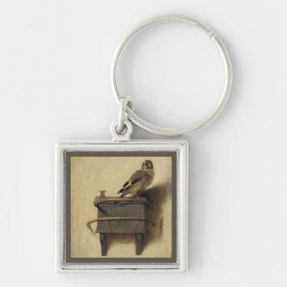 La pintura del Goldfinch Llavero Cuadrado Plateado