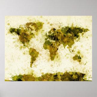La pintura del mapa del mundo salpica amarillo póster