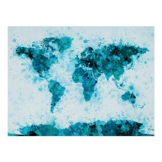 La pintura del mapa del mundo salpica el azul póster