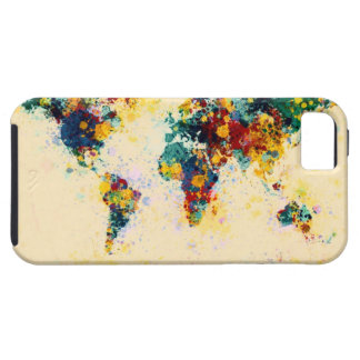 La pintura del mapa del mundo salpica iPhone 5 Case-Mate cárcasa