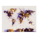 La pintura del mapa del mundo salpica tarjetas postales