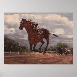 La pintura excelente de la carrera de caballos del posters