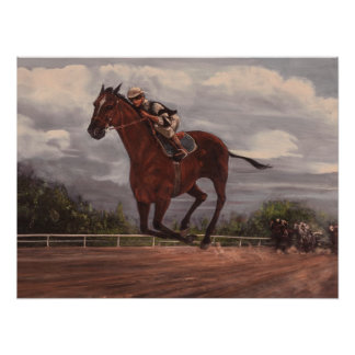 La pintura excelente de la carrera de caballos del póster
