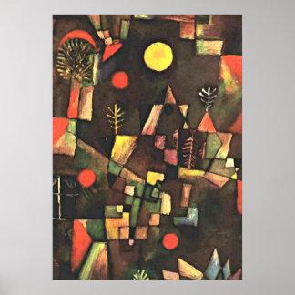 La pintura famosa de Klee, Luna Llena Póster