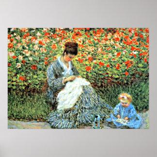 La pintura famosa de Monet: Camilo Monet y niño Póster