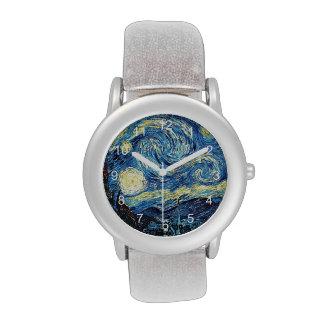 La pintura famosa de Van Gogh, noche estrellada Relojes De Pulsera