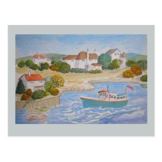La pintura feliz del puerto, arte popular añade el postal