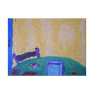 La pintura interior de la imagen de la tabla y de  lienzo envuelto para galerias