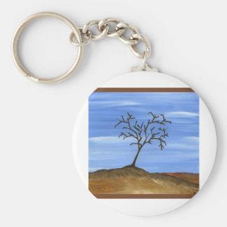La pintura minimalista tradicional del árbol de Br Llavero Redondo Tipo Pin