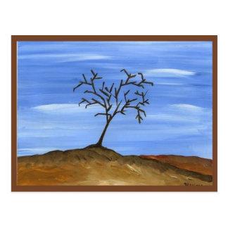 La pintura minimalista tradicional del árbol de tarjeta postal