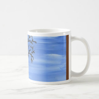 La pintura minimalista tradicional del árbol de taza de café