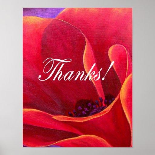 La pintura roja de la flor de la amapola con le ag poster