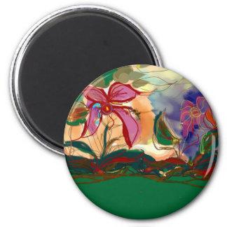La pintura rosada de Flower>Watercolour Imán Redondo 5 Cm