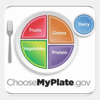 La pirámide de alimentación 2011 elige a mi calcomanía cuadradas