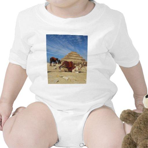 La pirámide de Djoser (Zoser) con el camello Trajes De Bebé
