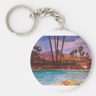 La piscina del Palm Springs Llavero Redondo Tipo Chapa