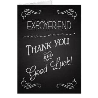 La pizarra agradece le y buena suerte al Ex-Novio Tarjeta De Felicitación