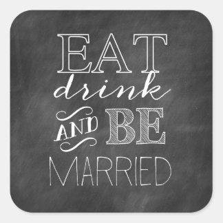 La pizarra come, bebe, y sea pegatina casado