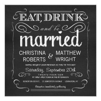 La pizarra come la bebida sea invitaciones casadas