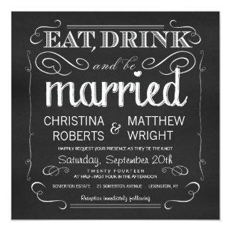 """La pizarra come la bebida sea invitaciones casadas invitación 5.25"""" x 5.25"""""""