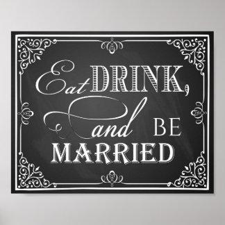 La pizarra de la muestra del boda come la bebida y póster