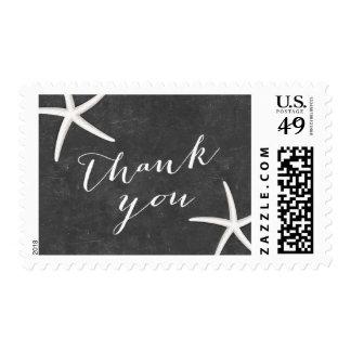 La pizarra de las estrellas de mar le agradece timbre postal