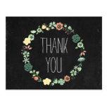 La pizarra floral le agradece postales