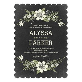 La pizarra florece las invitaciones del boda invitacion personal