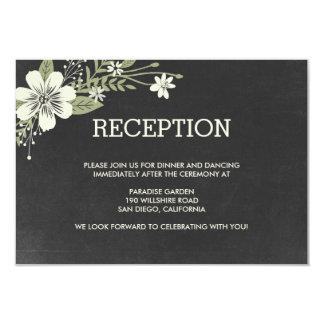 La pizarra florece las tarjetas de la recepción invitaciones personalizada