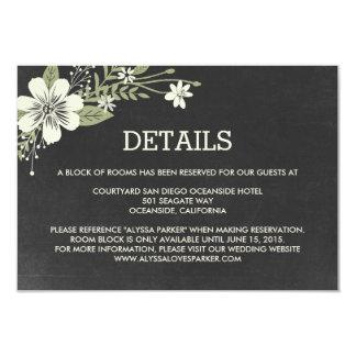 La pizarra florece las tarjetas del recinto del invitación 8,9 x 12,7 cm