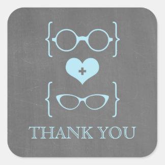 La pizarra Geeky azul de los vidrios le agradece Pegatinas Cuadradases