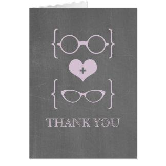 La pizarra Geeky púrpura de los vidrios le agradec Tarjeta Pequeña