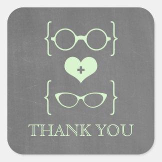 La pizarra Geeky verde de los vidrios le agradece Calcomanías Cuadradass Personalizadas