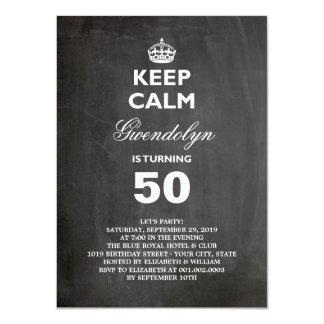 La pizarra guarda a la 50.a fiesta de cumpleaños invitacion personalizada