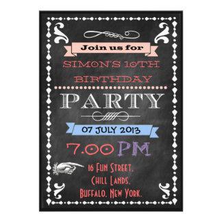 La pizarra retra embroma invitaciones de la fiesta invitaciones personalizada