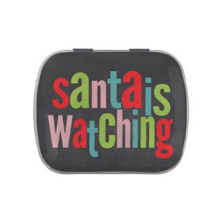 La pizarra Santa está mirando color del navidad Frascos De Dulces