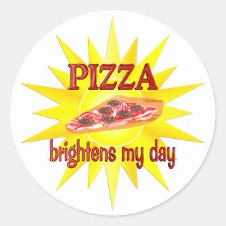 La pizza aclara pegatina redonda