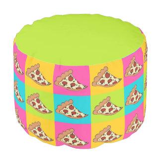 La pizza corta el taburete puf redondo