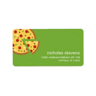 La pizza corta etiquetas de dirección